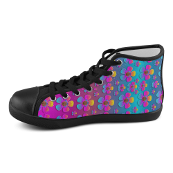 Freedom Peace Flowers Raining In Rainbows Men's High Top Canvas Shoes (Model 002)
