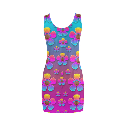 Freedom Peace Flowers Raining In Rainbows Medea Vest Dress (Model D06)