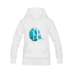 A proud dolphin swims in the ocean Women's Classic Hoodies (Model H07)