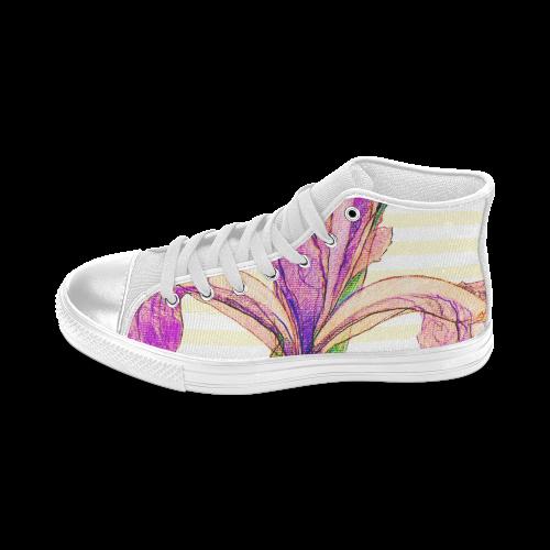 Purple Iris Women's Classic High Top Canvas Shoes (Model 017)