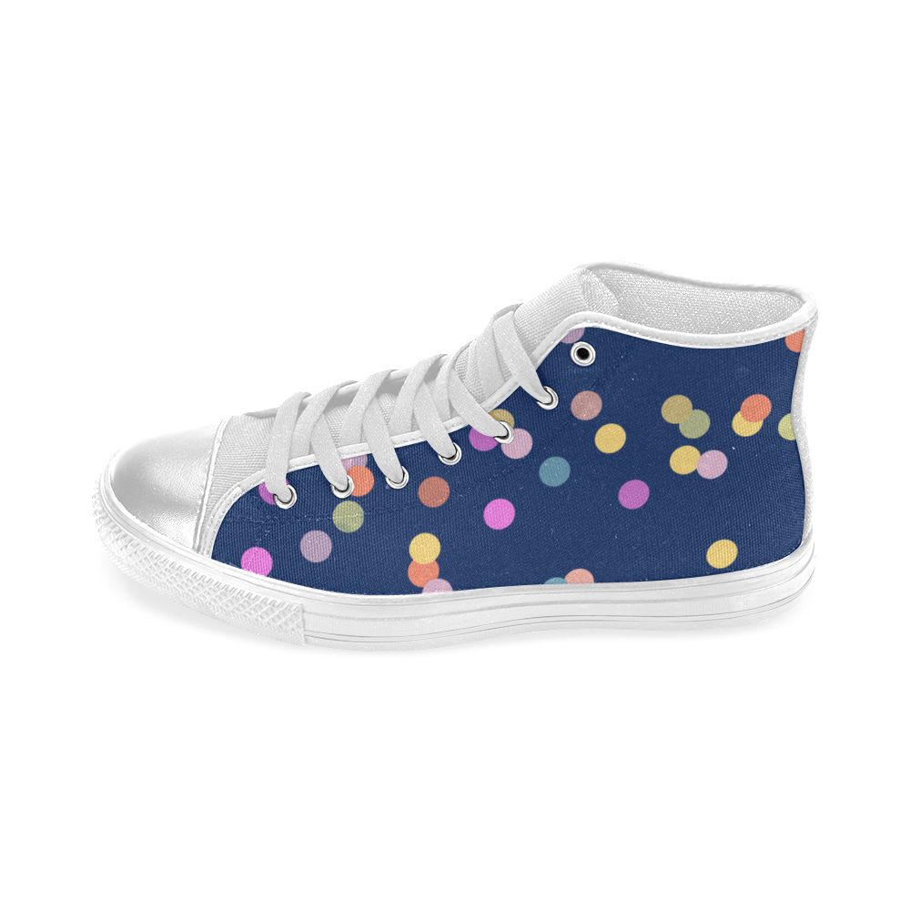 Playful Polka Dots Women's Classic High Top Canvas Shoes (Model 017)