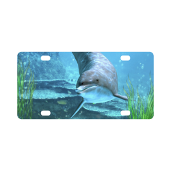 A proud dolphin swims in the ocean Classic License Plate