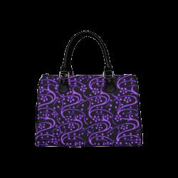 Vintage Swirl Floral Purple Black Boston Handbag (Model 1621)