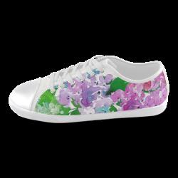 Watercolor Hydrangea Women's Canvas Shoes (Model 016)