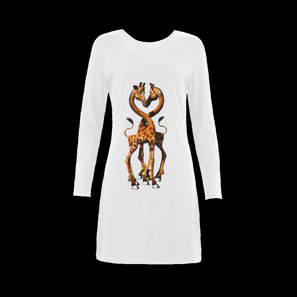 Funny giraffe Demeter Long Sleeve Nightdress (Model D03)