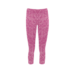 Vintage Floral Lace Leaf Fuchsia Pink Capri Legging (Model L02)