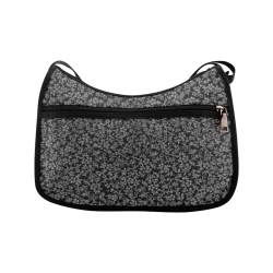 Vintage Floral Charcoal Gray Black Crossbody Bags (Model 1616)