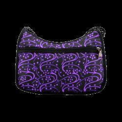 Vintage Swirl Floral Purple Black Crossbody Bags (Model 1616)