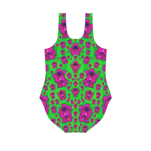 Fantasy Valentine in floral love and peace time Vest One Piece Swimsuit (Model S04)
