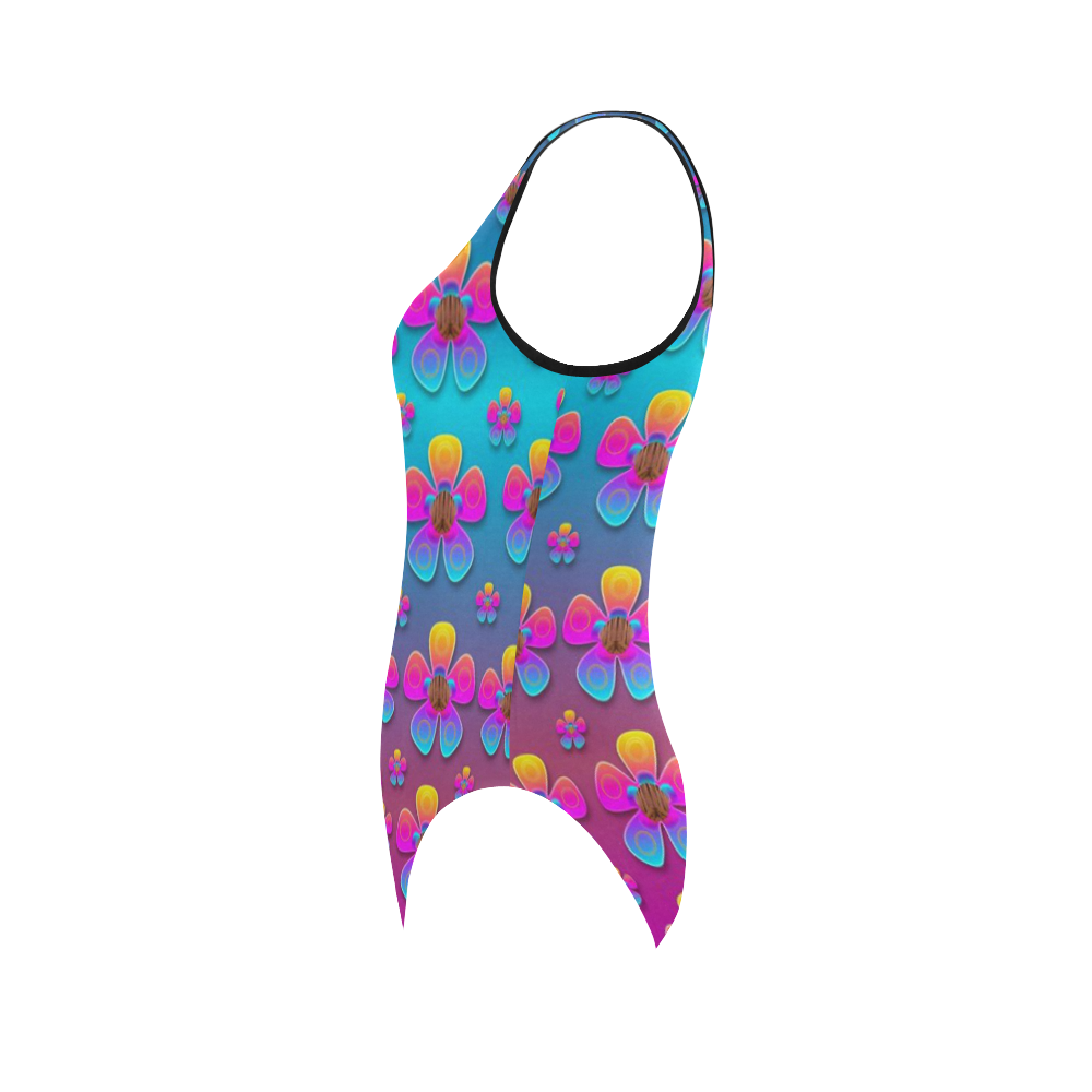 Freedom Peace Flowers Raining In Rainbows Vest One Piece Swimsuit (Model S04)