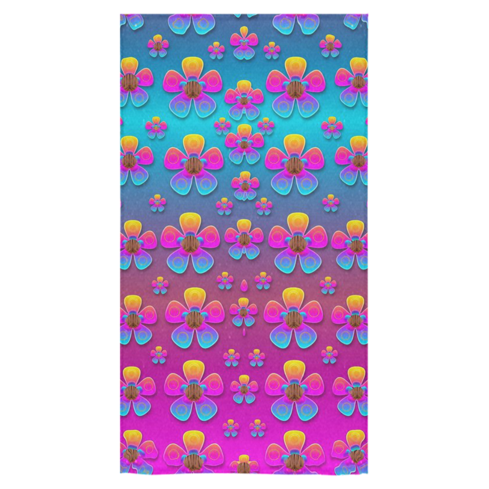 "Freedom Peace Flowers Raining In Rainbows Bath Towel 30""x56"""