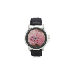 Vintage carnations on a spoon Unisex Stainless Steel Leather Strap Watch(Model 202)