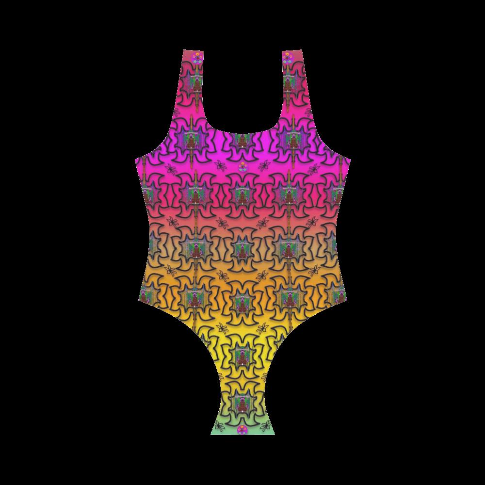 Butterflies flowers and panda bears in heavy metal Vest One Piece Swimsuit (Model S04)