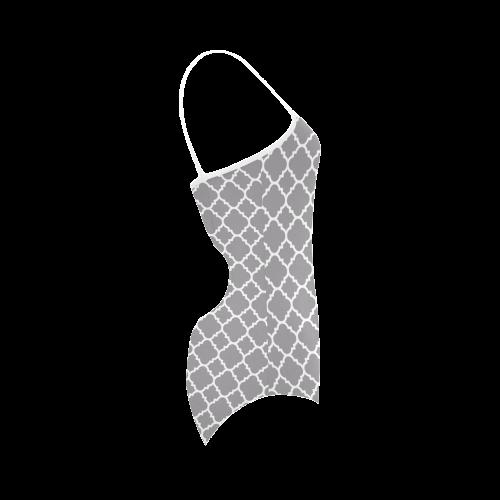 grey white quatrefoil classic pattern Strap Swimsuit ( Model S05)