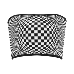 Optical Illusion Checkers Bandeau Top