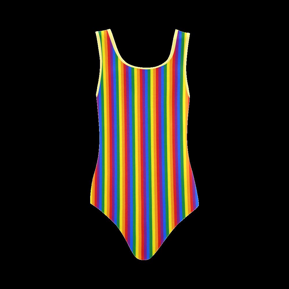 Gay Pride Rainbow Stripes Vest One Piece Swimsuit (Model S04)