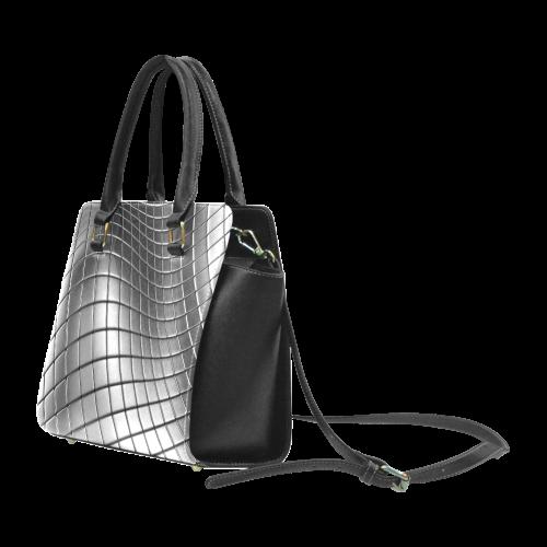 Abstract SilverChrome Wavy Cubes Rivet Shoulder Handbag (Model 1645)