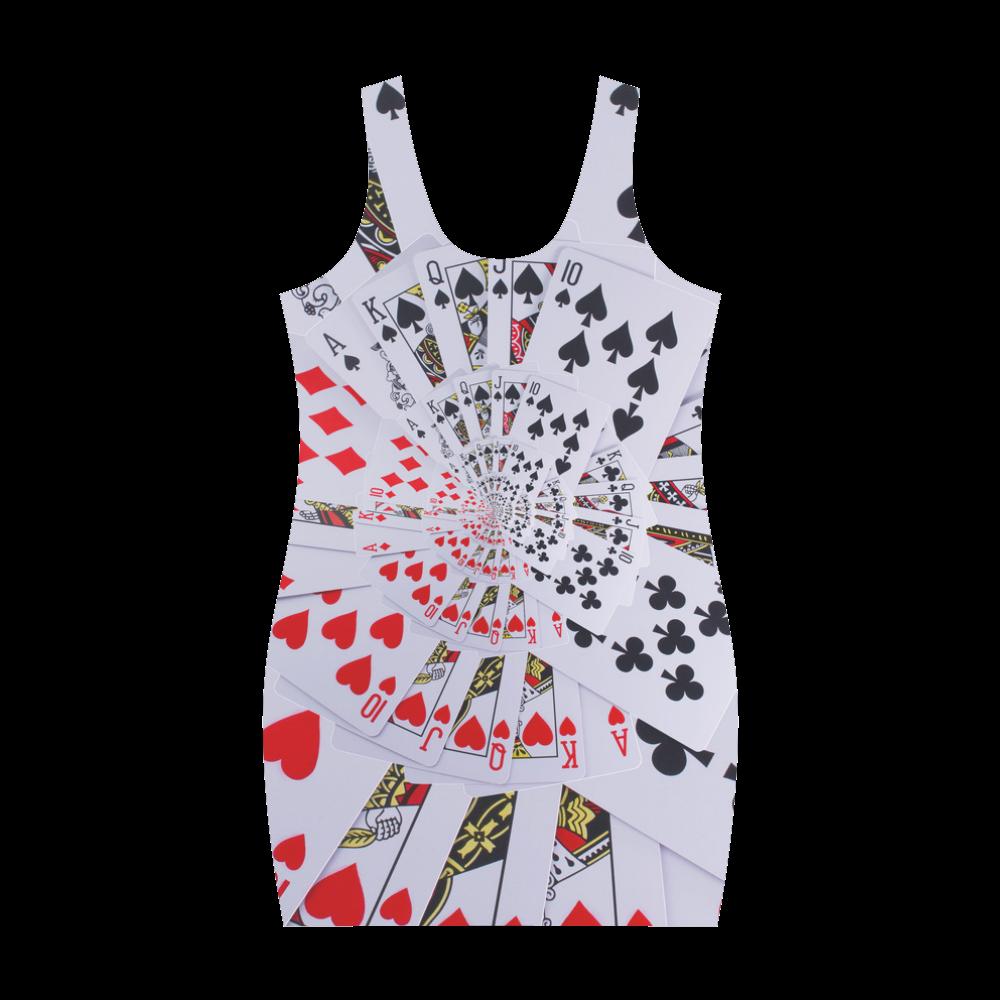 Casino Poker Royal Flush Spiral Droste Medea Vest Dress (Model D06)