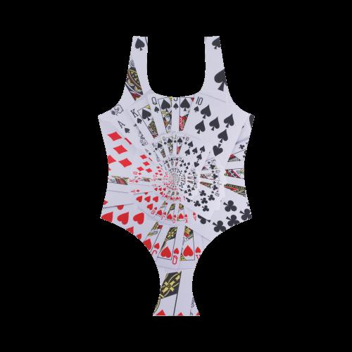 Casino Poker Royal Flush Spiral Droste Vest One Piece Swimsuit (Model S04)