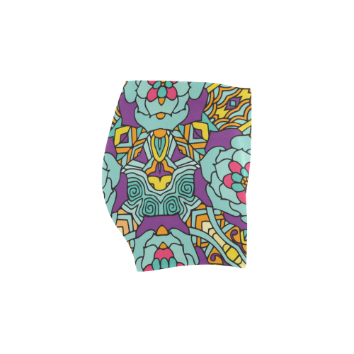 Mariager-bold flowers,blue,purple,yellow floral Briseis Skinny Shorts (Model L04)