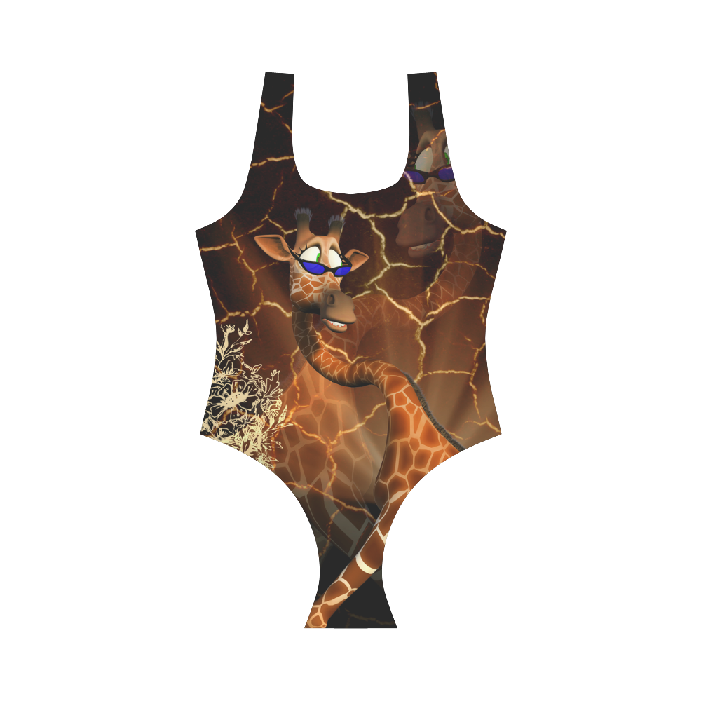 Funny giraffe Vest One Piece Swimsuit (Model S04)