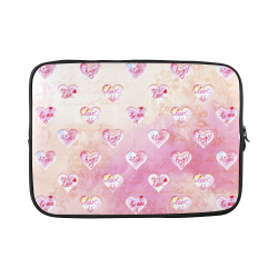 """Vintage Pink Hearts with Love Words Custom Sleeve for Laptop 15.6"""""""