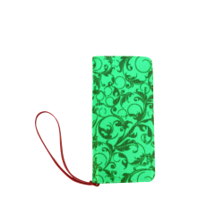 Vintage Swirls Green Women's Clutch Wallet (Model 1637)