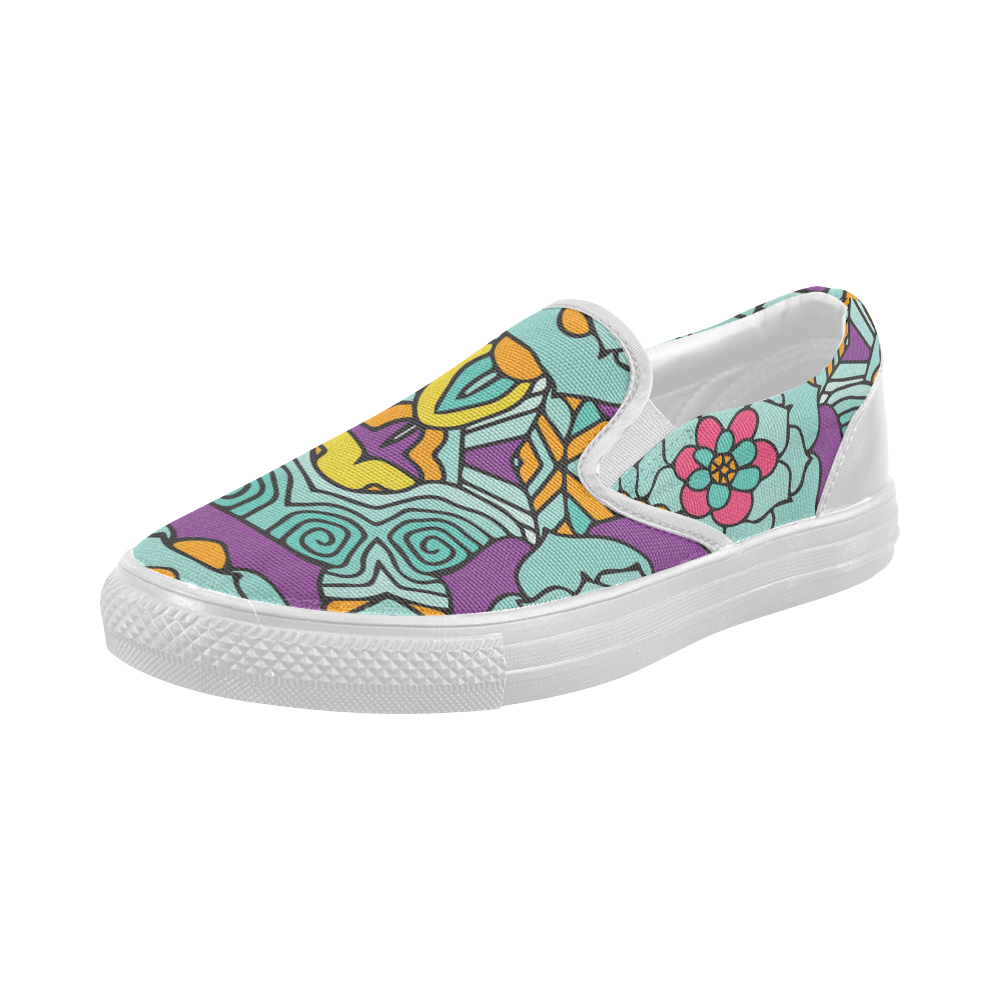 Mariager-bold flowers,blue,purple,yellow floral Women's Slip-on Canvas Shoes (Model 019)