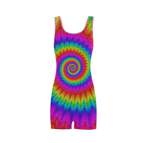 Psychedelic Rainbow Spiral Classic One Piece Swimwear (Model S03)