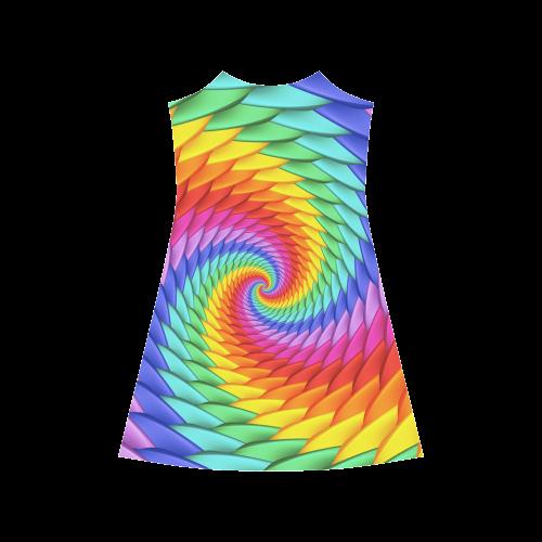 Psychedelic Rainbow Spiral Alcestis Slip Dress (Model D05)