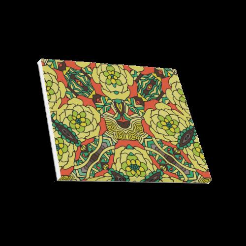 "Mariger, Retro Yellow orange and green rose Canvas Print 20""x16"""