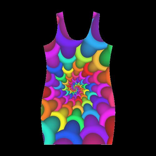 Psychedelic Rainbow Spiral Medea Vest Dress (Model D06)