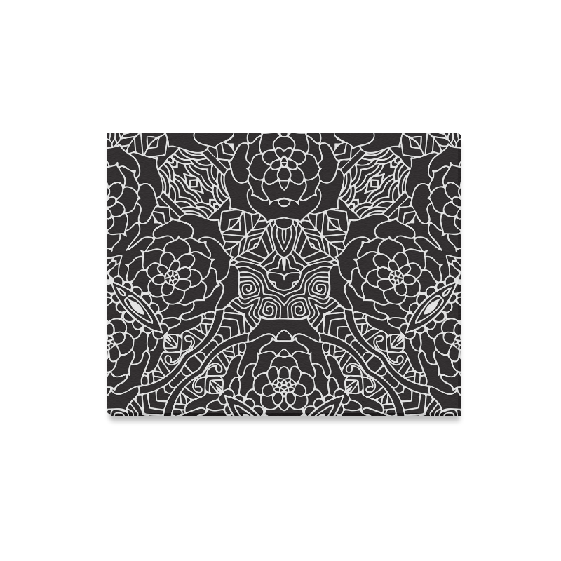 """Mariager-Black & White- rose flowers Canvas Print 20""""x16"""""""