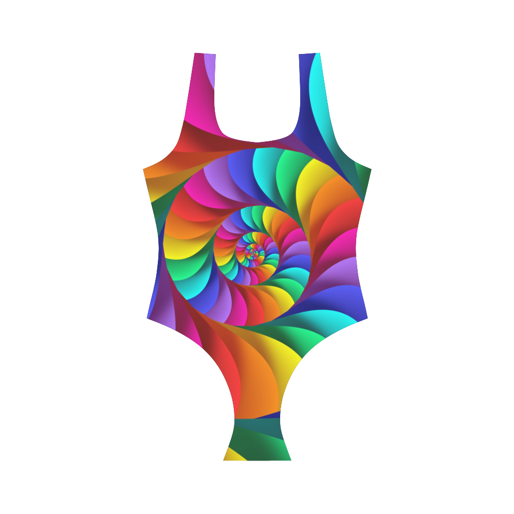 Psychedelic Rainbow Spiral Vest One Piece Swimsuit (Model S04)