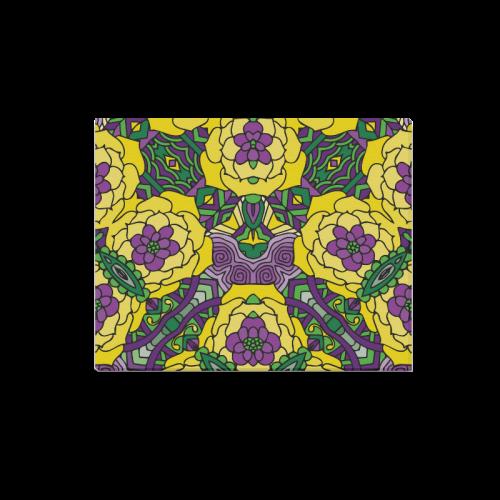 "Mariager, Mardi Gras yellow purple green Canvas Print 20""x16"""