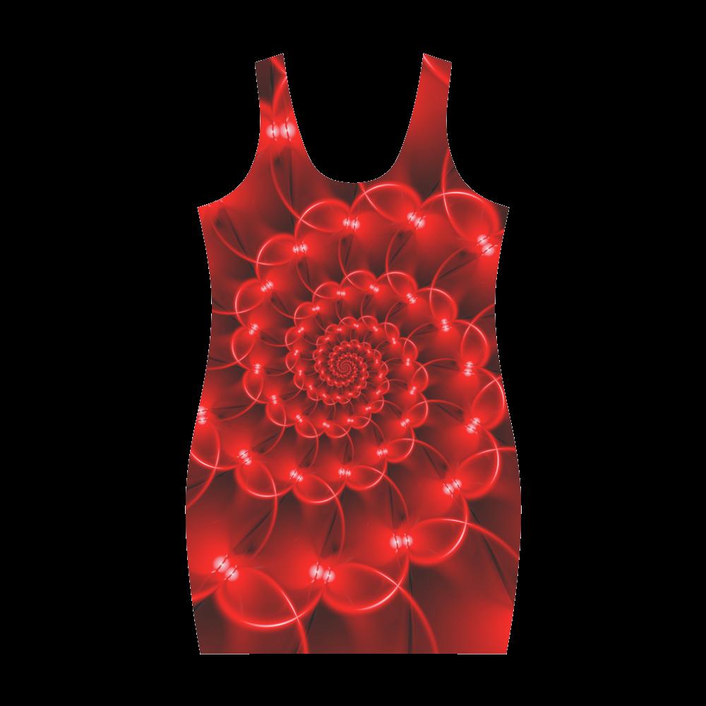 Glossy Red Spiral Fractal Medea Vest Dress (Model D06)