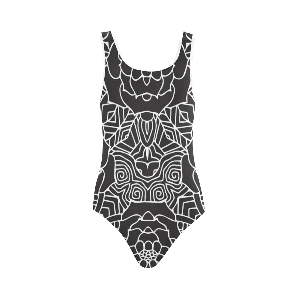 Mariager-Black & White- rose flowers Vest One Piece Swimsuit (Model S04)
