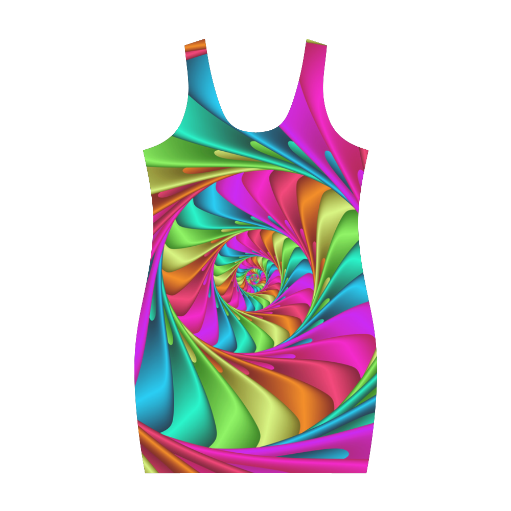 Psychedelic Rainbow Spiral Medea Vest Dress (Model D06)