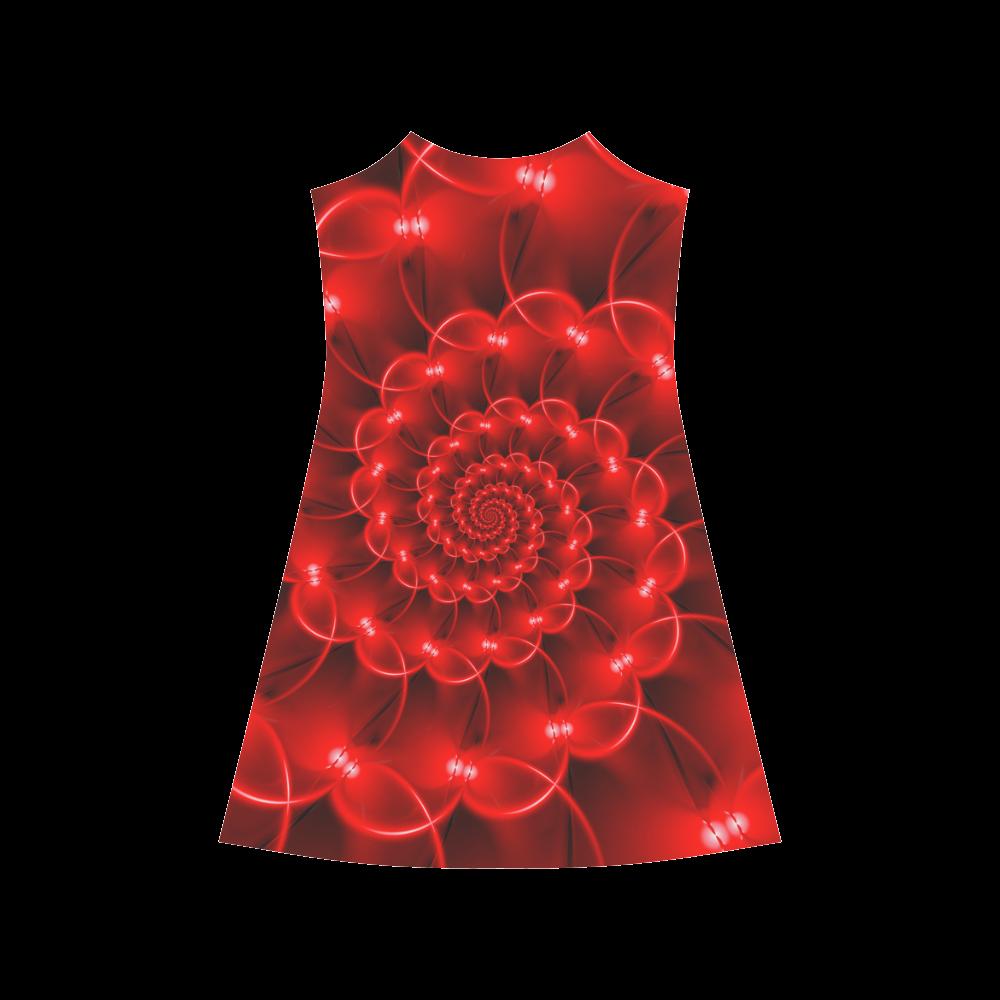Glossy Red Spiral Fractal Alcestis Slip Dress (Model D05)