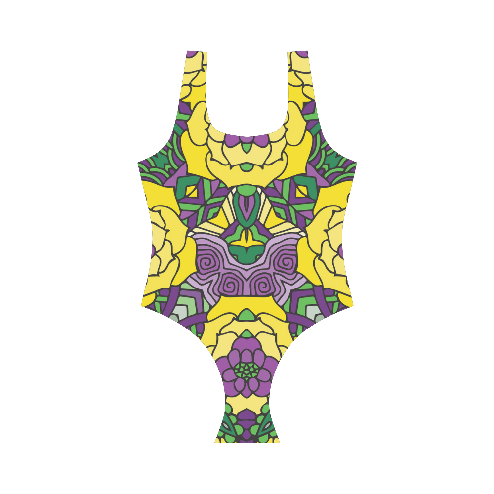 Mariager, Mardi Gras yellow purple green Vest One Piece Swimsuit (Model S04)