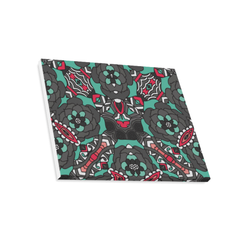"""Mariager - black pink & teal - rose flowers Canvas Print 20""""x16"""""""