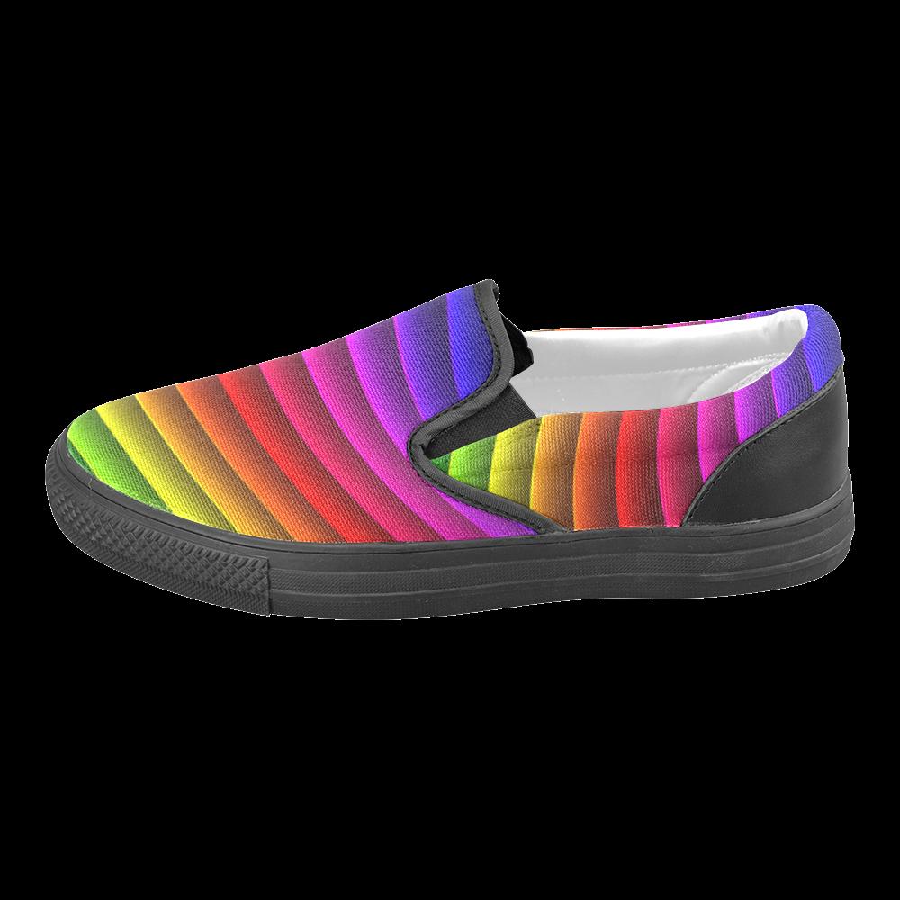Glossy Rainbow Stripes Women's Unusual Slip-on Canvas Shoes (Model 019)