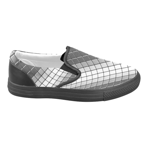 Abstract 3d Silver Chrome Cubes Women's Unusual Slip-on Canvas Shoes (Model 019)