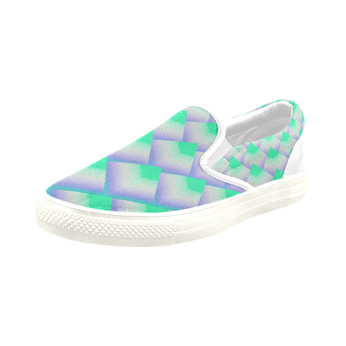 3D Geometric Green Pyramids Men's Slip-on Canvas Shoes (Model 019)