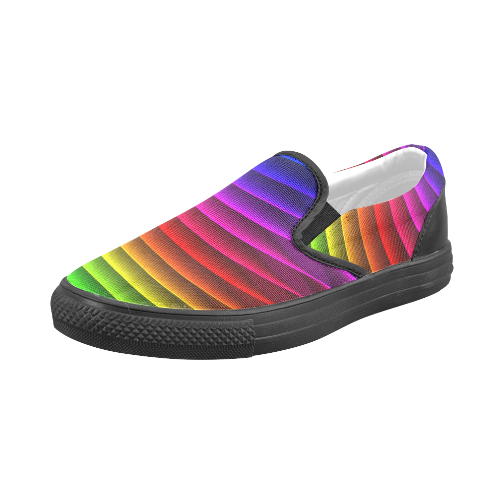 Glossy Rainbow Stripes Men's Slip-on Canvas Shoes (Model 019)