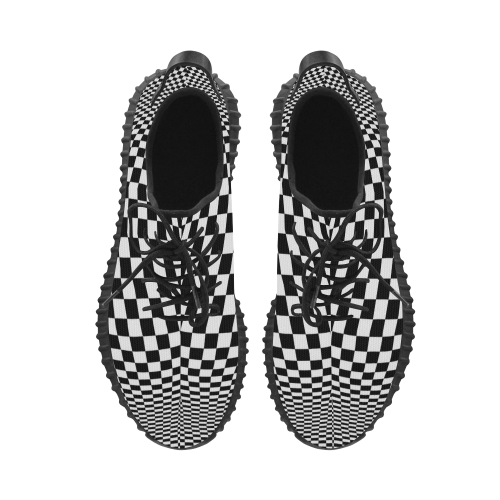 Optical Illusion Checkers Grus Women's Breathable Woven Running Shoes (Model 022)