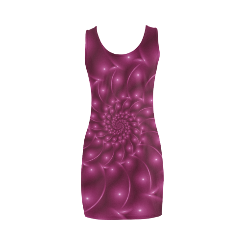 Glossy Plum Pink Spiral Fractal Medea Vest Dress (Model D06)