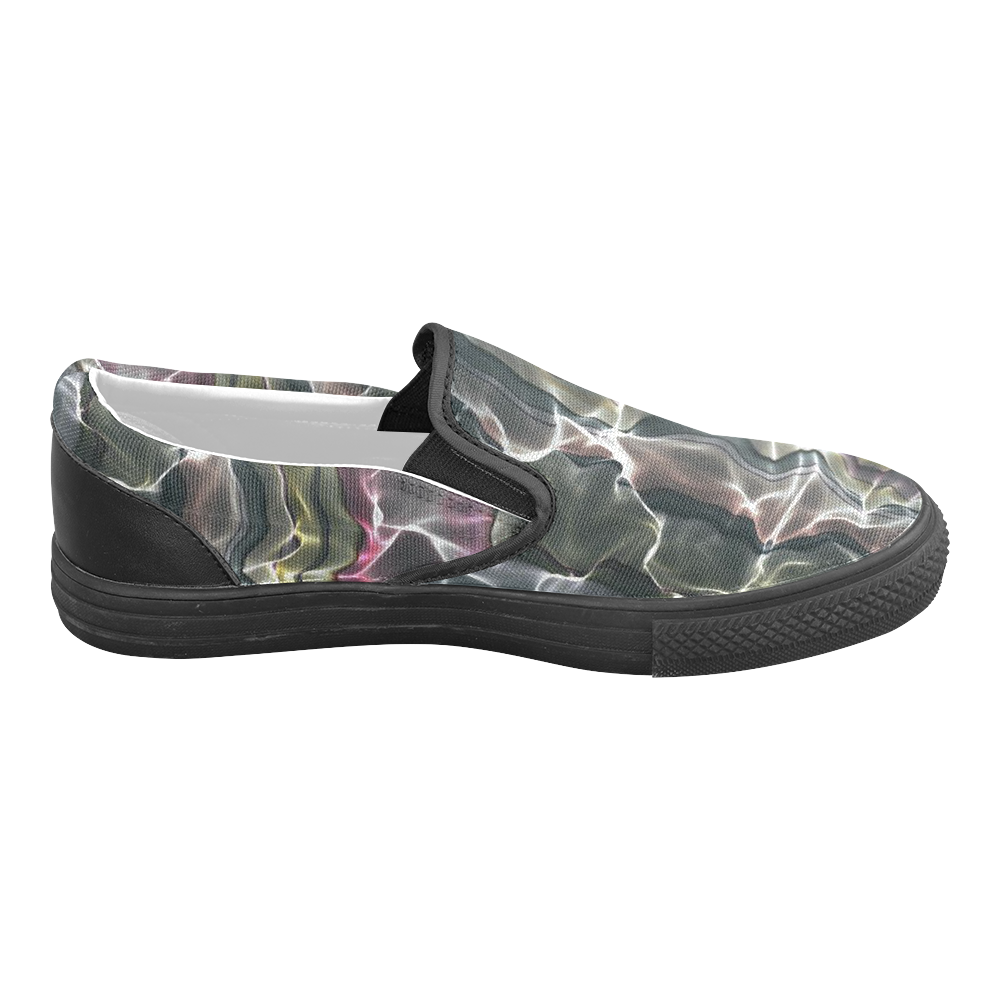 Abstract Wavy Mesh Men's Slip-on Canvas Shoes (Model 019)