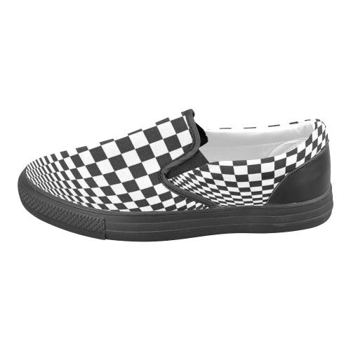 Optical Illusion Checkers Men's Slip-on Canvas Shoes (Model 019)