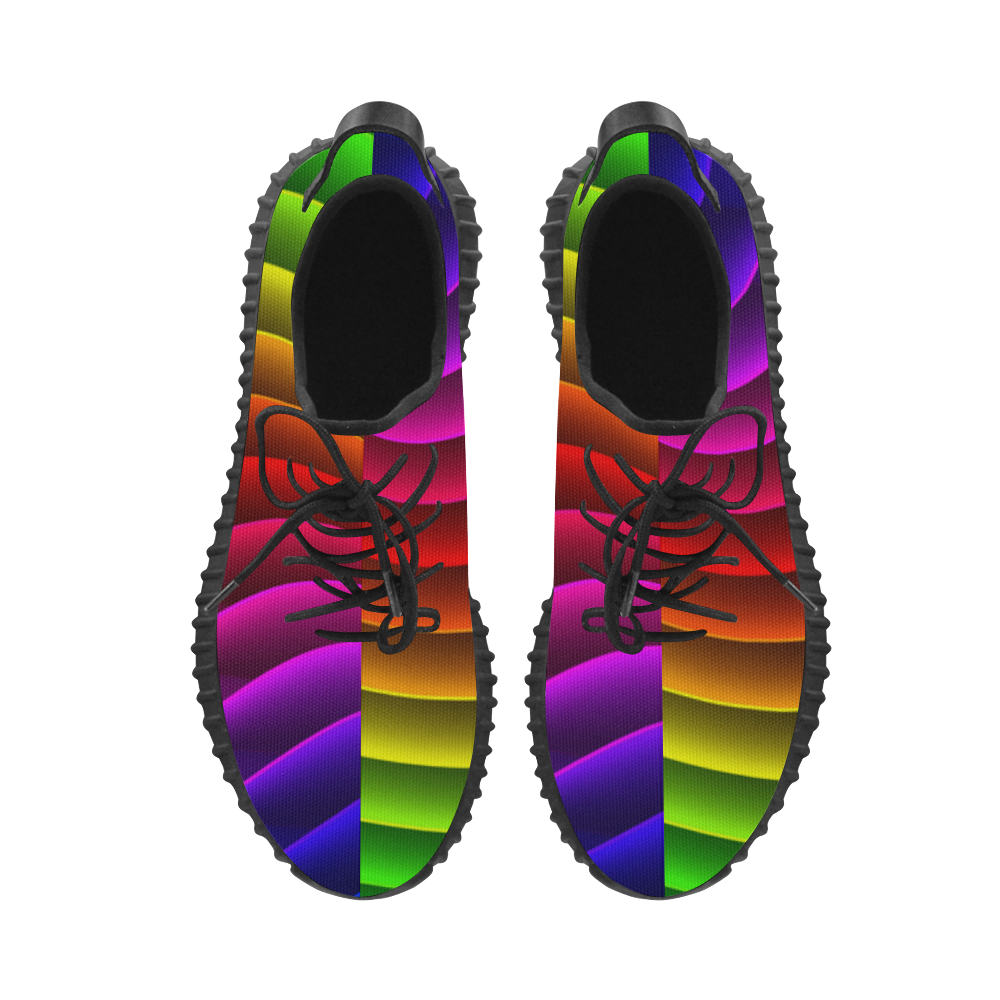 Glossy Rainbow Stripes Grus Women's Breathable Woven Running Shoes (Model 022)
